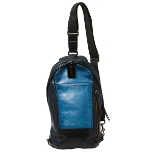 Coach Black/Blue Leather Camden Convertible Sling Backpack
