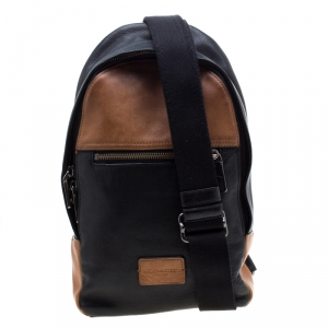 Coach Black/Brown Leather Campus Sling Backpack