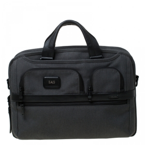 Tumi Grey/Black Fabric Expandable Laptop Briefcase