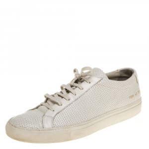 Common Projects White Perforated Leather Achilles Lace Up Sneaker Size 43 - used
