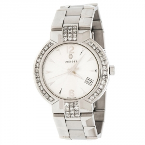 Concord Silver White Stainless Steel Diamonds La Scala 14.CZ.1891 Men's Wristwatch 38 mm