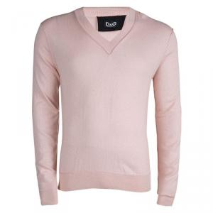 D&G Pink Cashmere V-Neck Sweater L