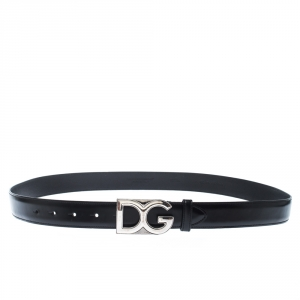 D&G Black Leather Logo Buckle Belt 105CM