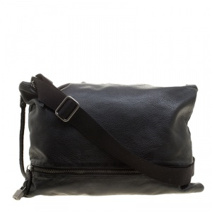 D&G Black Pebbled Leather Messenger Bag