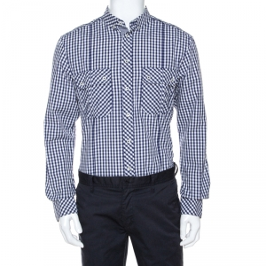 D&G Bicolor Gingham Check Cotton Slim Fit Shirt XL