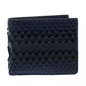 Dior Homme Navy Blue/Black Python Bifold Wallet