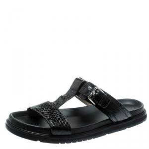 Dior Homme Black Snakeskin Flat Slides Size 43