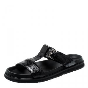 Dior Homme Black Snakeskin Flat Slides Size 42.5