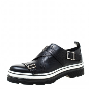 Dior Homme Black Brogue Leather Cross Strap Platform Oxfords Size 41.5