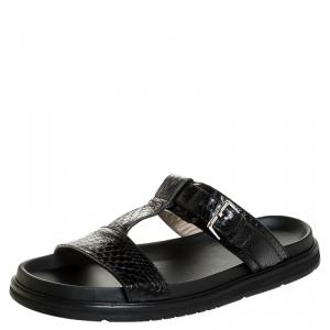 Dior Homme Black Snakeskin Flat Slides Size 43.5