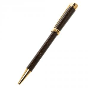 Dior Brown Lacquer Stitch Pattern Gold Tone Ballpoint Pen