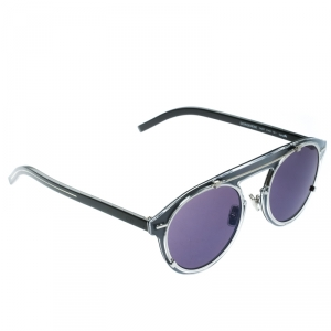 Dior Homme Silver/Black Diorgenese Round Sunglasses