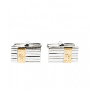 Dior Logo Stripe Two Tone Metal Tie Pin Cufflink Set