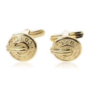 Christian Dior Logo Gold Plated Round Cufflinks