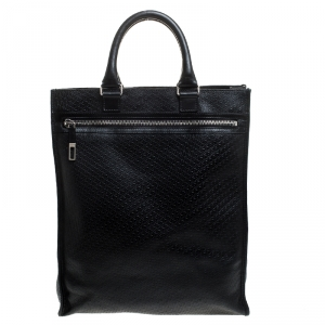 Dior Homme Black Diorissimo Embossed Leather Tote