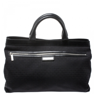 Dior Homme Black Fabric and Leather Tote