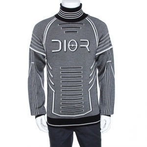 Dior and Sorayama Monochrome Intarsia Technical Wool Turtleneck Sweater XL
