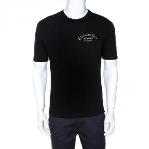 Dior Black Logo Print Cotton Crew Neck T-Shirt S