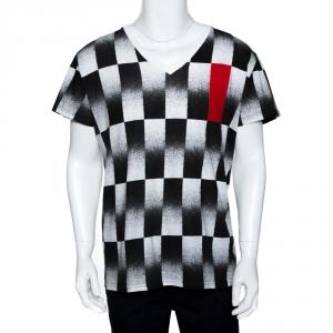 Dior Homme Monochrome Checker Print Cotton V Neck T-Shirt L