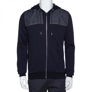 Dior Homme Navy Blue Cotton Denim Trim Zip Front Hooded Jacket L