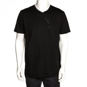 Dior Homme Black Cotton Floral Applique Detail Crew Neck T Shirt XL