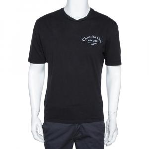 Dior Homme Black Cotton Atelier Print Crew Neck T Shirt M