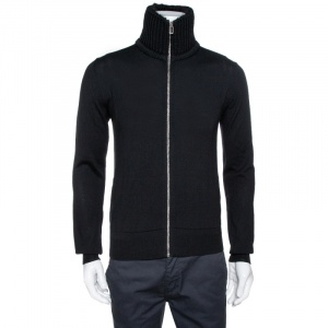 Dior Homme Black Wool Knit & Alpaca Trim Zip Up Jacket S