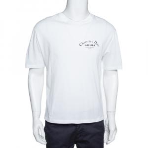 Dior Homme White Cotton Jersey Atelier Print T-Shirt L