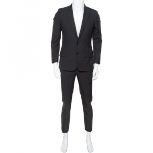 Dior Black Wool Two Button Suit S