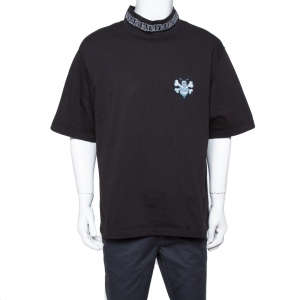 Dior Black Cotton Logo Embroidered Bee Patch Detail T Shirt XXL