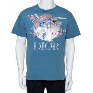Dior Homme Blue Cotton Metallic Sorayama Floral Logo Crewneck T-Shirt M