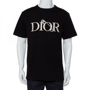 Dior X Judy Blame Black Cotton Logo Embroidered Crewneck T-Shirt L