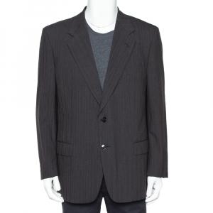 Christian Dior Monsieur Vintage Charcoal Grey Striped Wool Button Front Blazer L