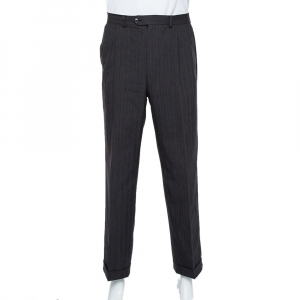 Christian Dior Vintage Charcoal Grey Striped Wool Straight Leg Trousers L