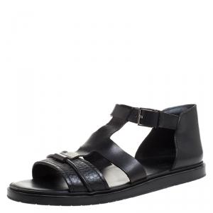 Dior Black Leather Open Toe Gladiator Flat Sandals Size 42.5
