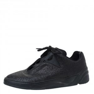 Dior Homme Black Glitter Leather And Leather Trim B17 Sneakers Size 41