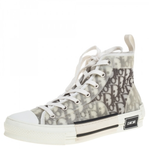 Dior White Oblique Mesh B23 High Top Sneakers Size 41