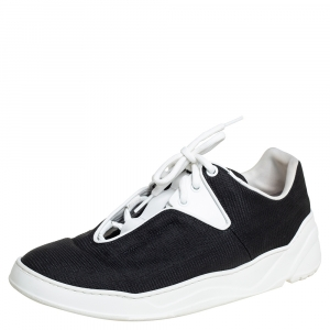 Dior Homme Black/White Canvas And Leather Sneakers Size 40