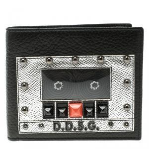 Dolce and Gabbana Black Leather Bottalato Radio 6 CC Bifold Wallet