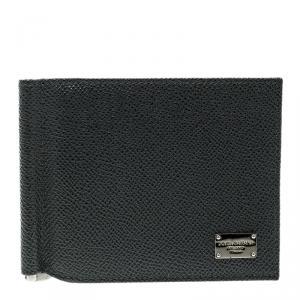 Dolce and Gabbana Dark Grey Leather Money Clip Bifold Card Holder