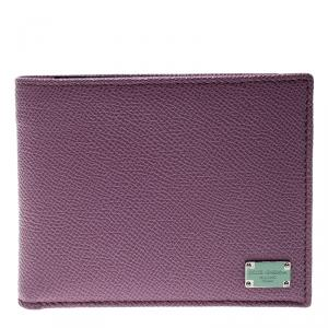 Dolce and Gabbana Lilac Leather Bifold Wallet