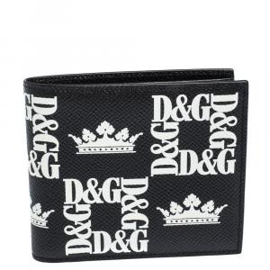 Dolce & Gabbana Black Crown-Logo Print Leather Bifold Wallet
