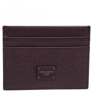 Dolce & Gabbana Burgundy Leather Logo Plaque Card Holder