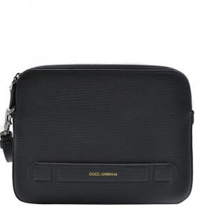 Dolce and Gabbana Dark Grey Nylon Leather Pouch Bag