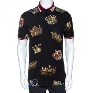 Dolce & Gabbana Black Crown Print Cotton Polo T-Shirt L