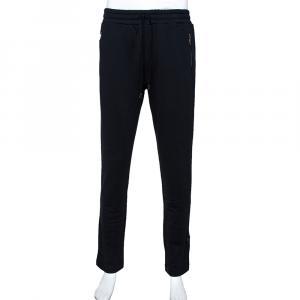 Dolce & Gabbana Navy Blue Cotton Logo Silver Plate Detail Sweatpants IT 50