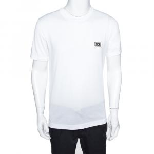 Dolce & Gabbana White Cotton Logo Patch T Shirt IT 44