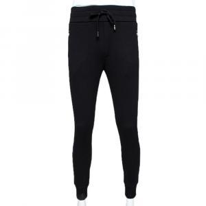 Dolce & Gabbana Black Stretch Cotton Rubberized Plate Track Pants IT 48