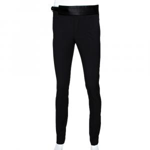 Dolce & Gabbana Black Stretch Silk and Wool Blend Waistband Tailored Trousers IT 44