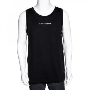 Dolce & Gabbana Black Cotton Logo Sleeveless T Shirt IT 46